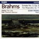 Brahms : Piano Sonata No.3 Op.5, Two Rhapsodies Op.79 - Glinka : The Lark - Suk详情